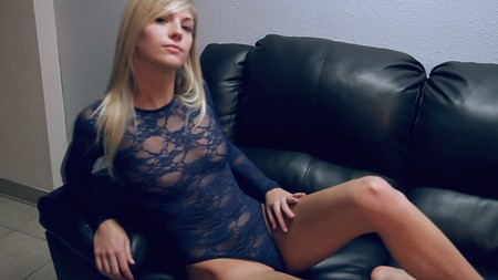 Sexy blonde girl Sandra is on the sofa in lingerie with YWF Models
