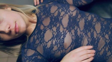 Blonde girl Sandra in sheer leotard lingerie