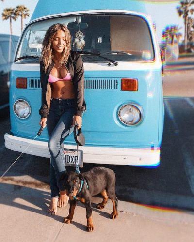 Californian vegan cutie with her dog