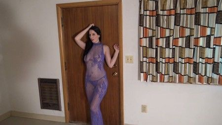 Northwest Beauties girl Stella in a sheer purple outfit