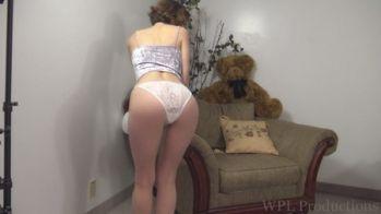 Girl wearing white panties