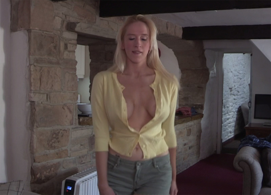 Lots of cleavage from Fiona in her open shirt