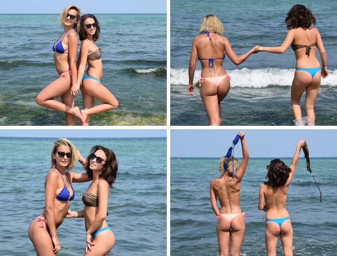 Two cuties Magda and Larisa take off their bikini tops for UGotItFlauntIt