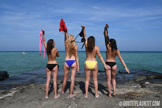 UGotItFlauntIt girls strip topless
