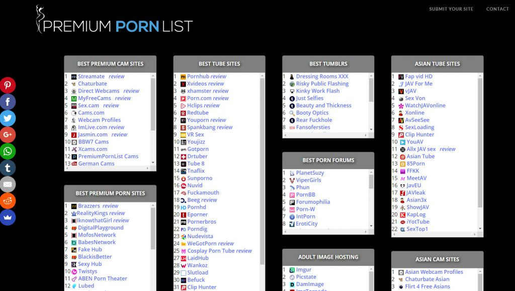 All the best Free and Premium porn sites of 2019 are listed there