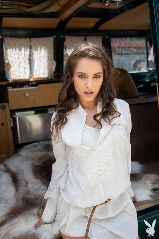 Brunette Uma Jolie posing for Playboy Plus