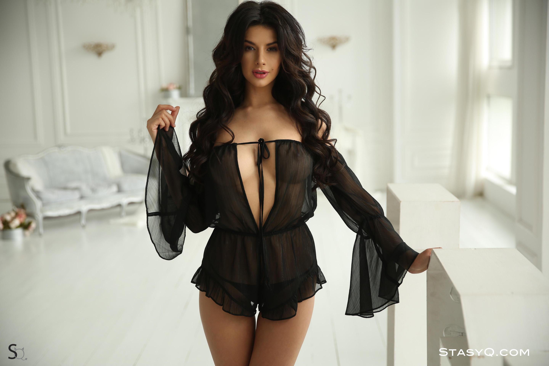 NomyQ looking stunning in sexy black lingerie-StasyQ