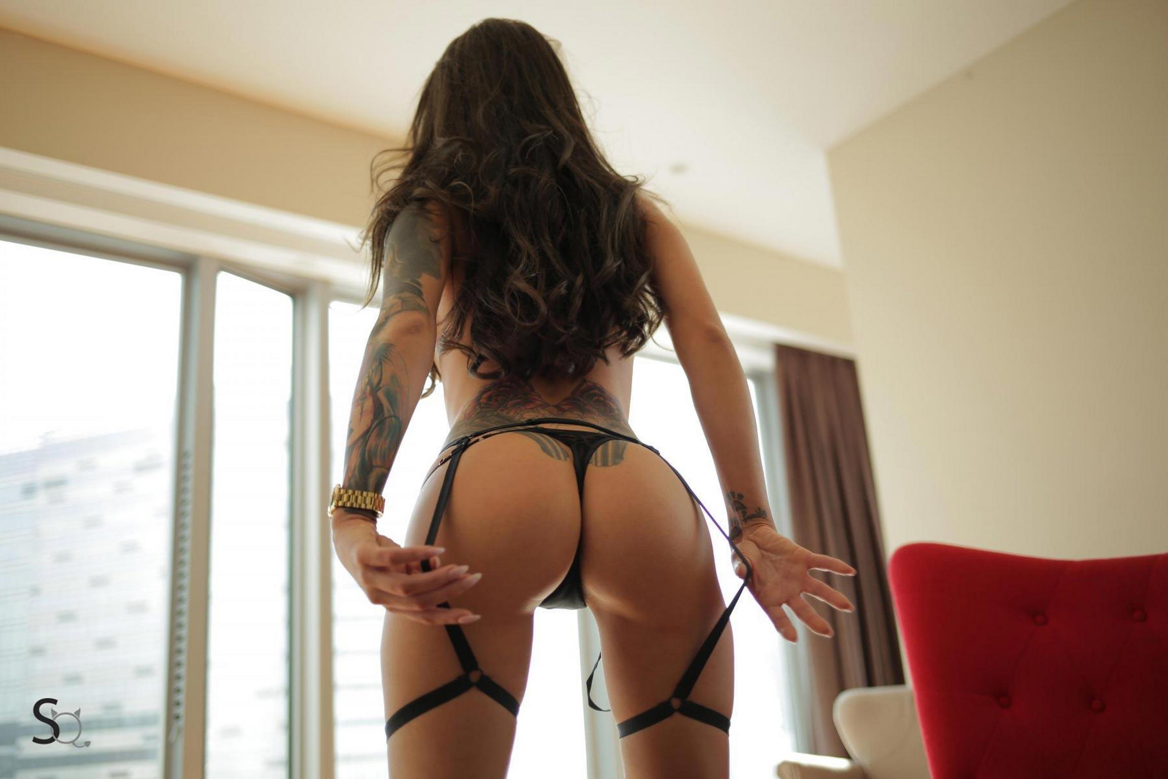 MeganQ showing her butt in just her suspenders-StasyQ