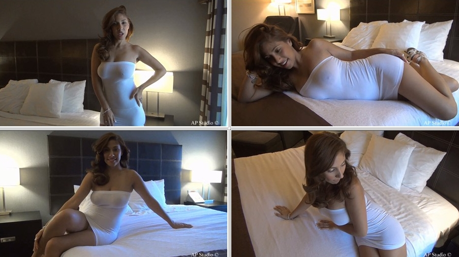 Monica plays on the bed in a tight white see through dress for Northwest Beauties