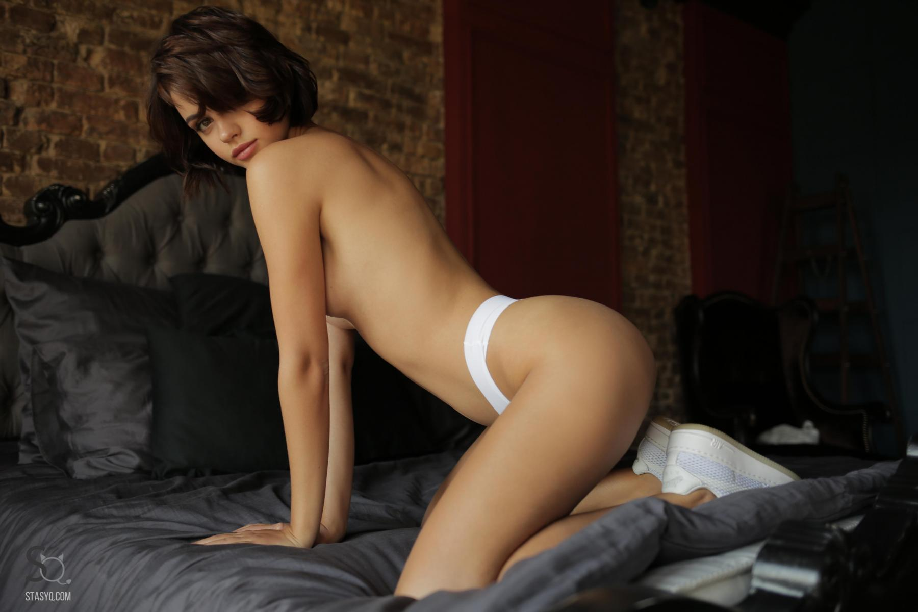 NatellaQ posing on the bed in just her white panties-StasyQ