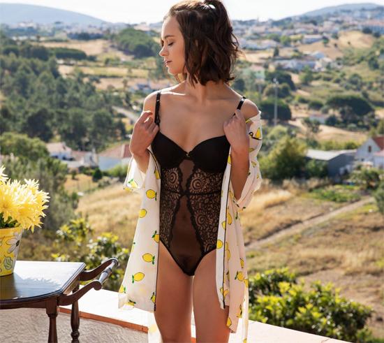 Marine Lecourt in black lingerie