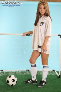 Sexy Kari Sweets in her soccer strip