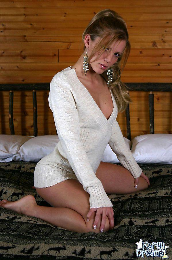 Karen Dreams looking sexy in a long white jumper