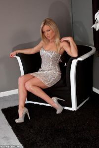 Meet Madden looks glamorous in her silver evening dress