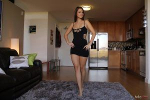 Pretty Bailey Knox looking gorgeous in her short black mini dress