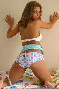 Kinky Karen giving a close up of her sexy ass in her polkadot panties