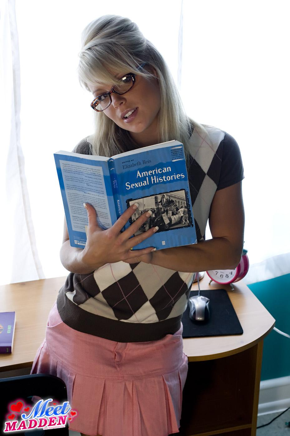 Student Meet Madden reading her sexual histories book