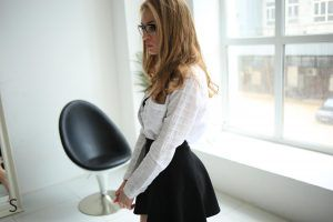 MeosyQ looking sexy in her office attire and glasses for StasyQ