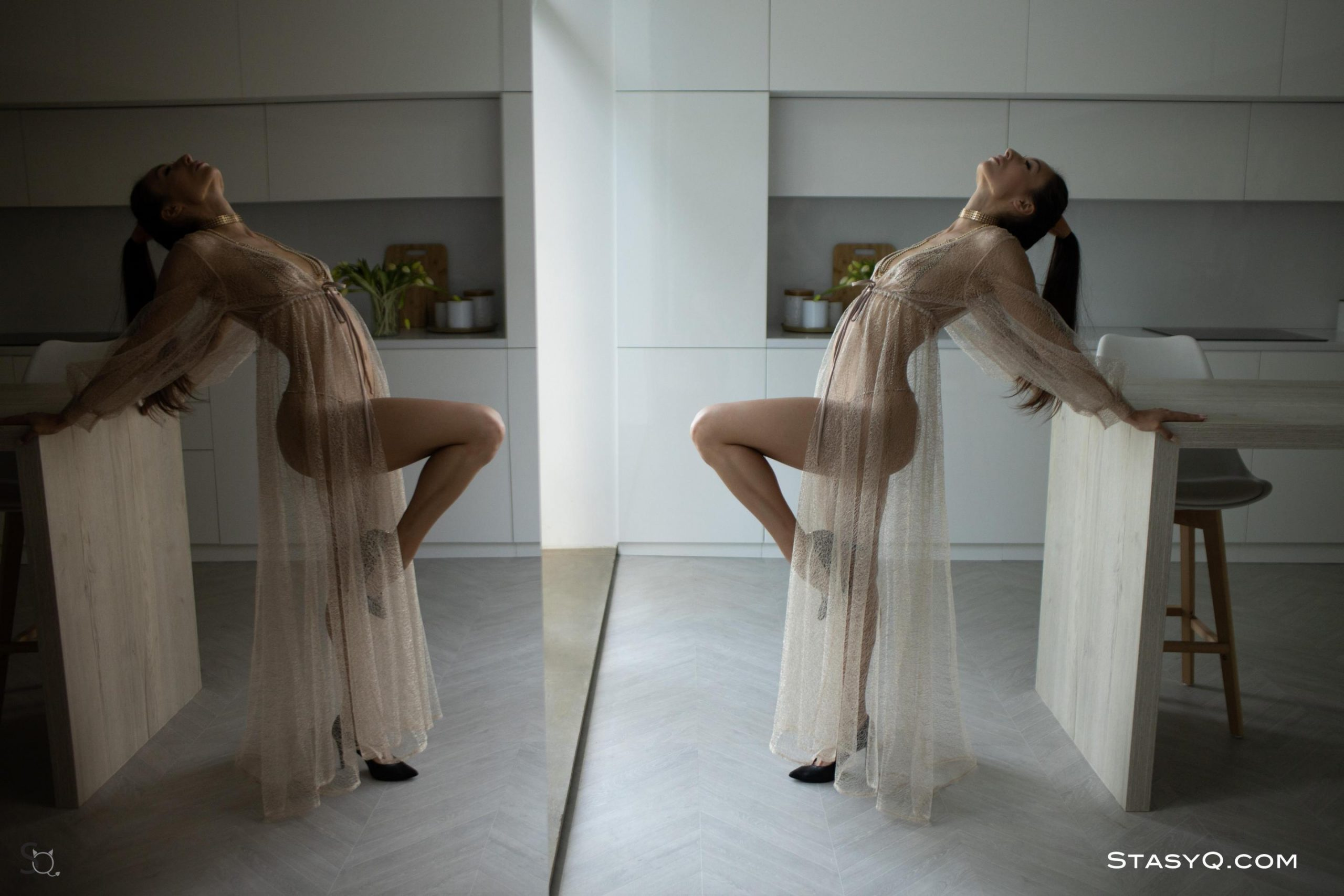 CourtneyQ giving an elegant pose in her long see through dress for StasyQ
