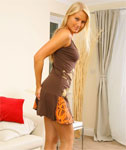 Classy Blonde Alexis in a Short Dress